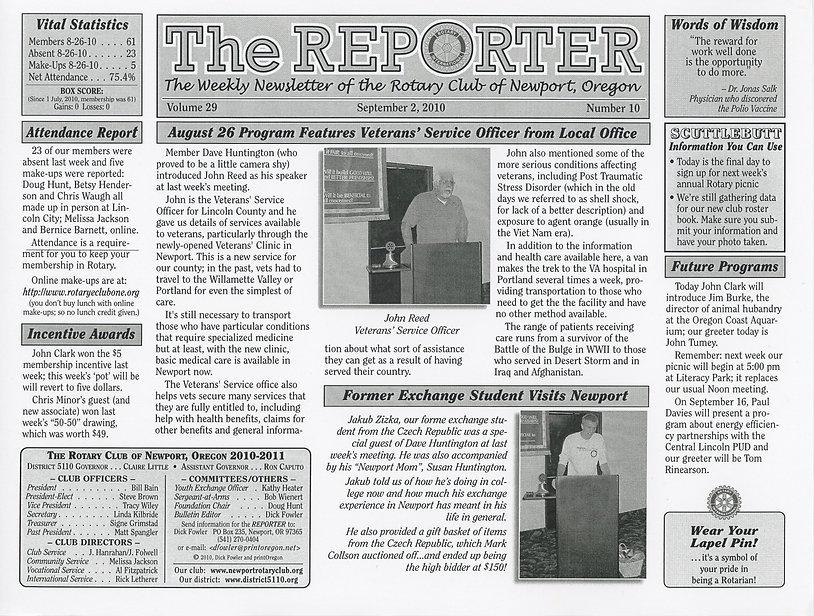 Rotary of Newport, Oregon September 2, 2010 newsletter
