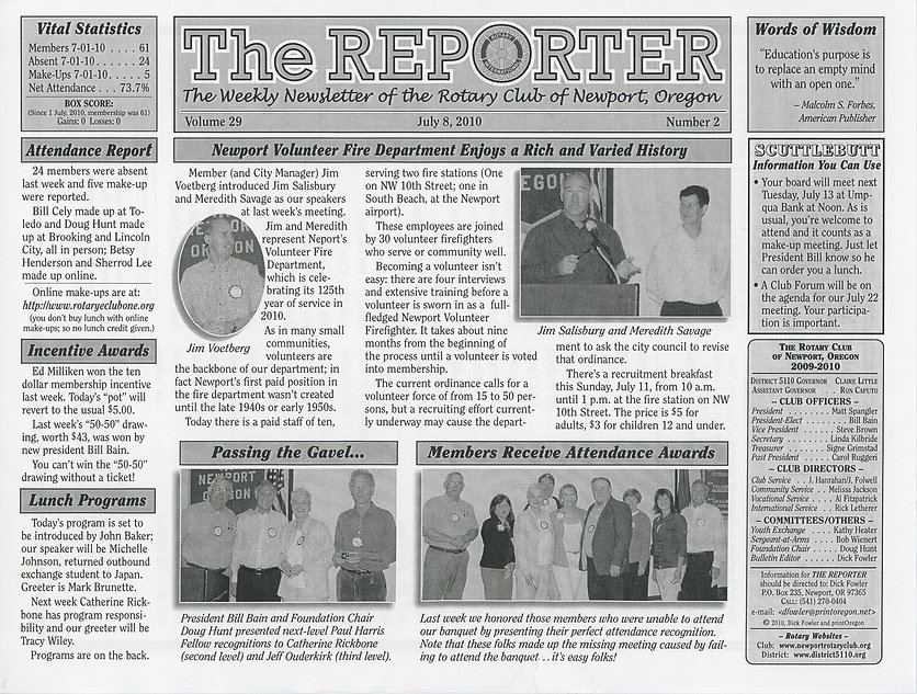 Rotary of Newport, Oregon July 8, 2010 newsletter