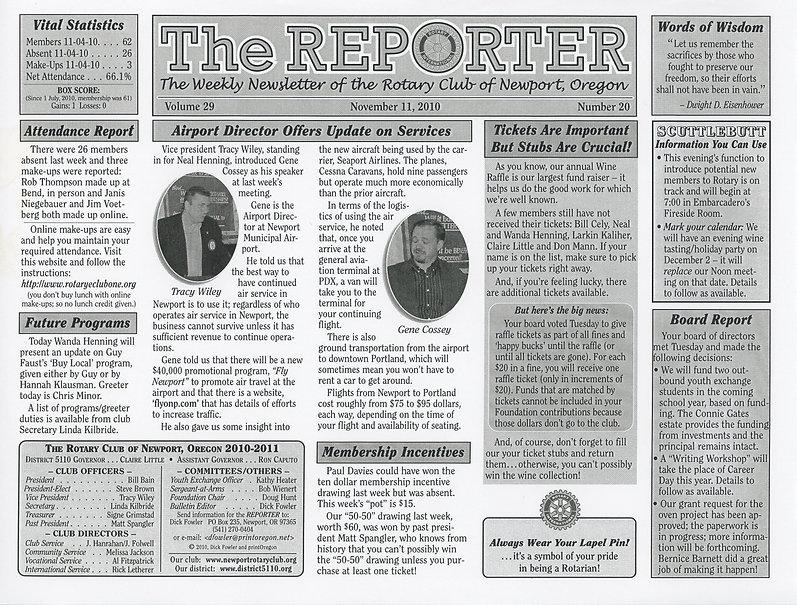 Rotary Club of Newport, Oregon November 11, 2010 newsletter.