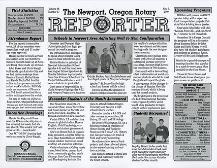 Rotary of Newport, Oregon November 5, 2009 newsletter