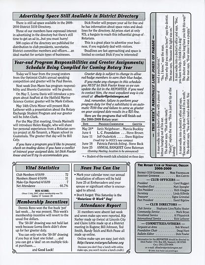 Rotary of Newport, Oregon April 23, 2009 newsletter