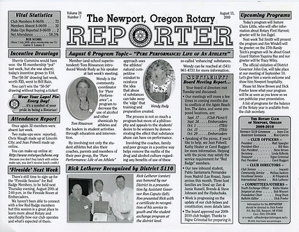 Rotary of Newport, Oregon August 13, 2009 newsletter