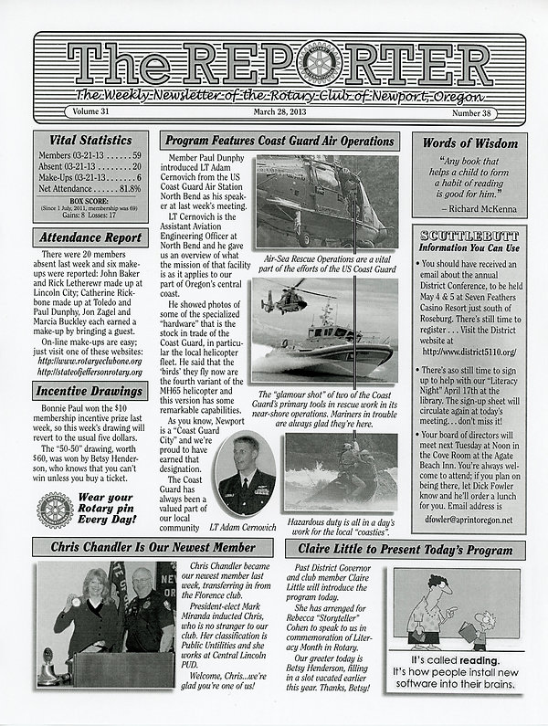 March 28, 2013 Rotary of Newport, Oregon Newsletter