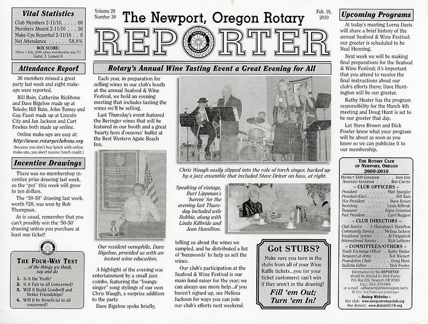 Rotary of Newport, Oregon February 18, 2010 newsletter.