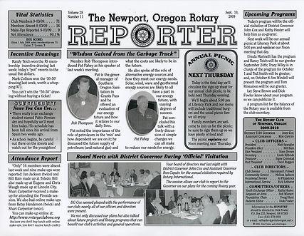Rotary of Newport, Oregon September 10, 2009 newsletter