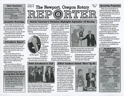 Rotary of Newport, Oregon September 17, 2009 newsletter