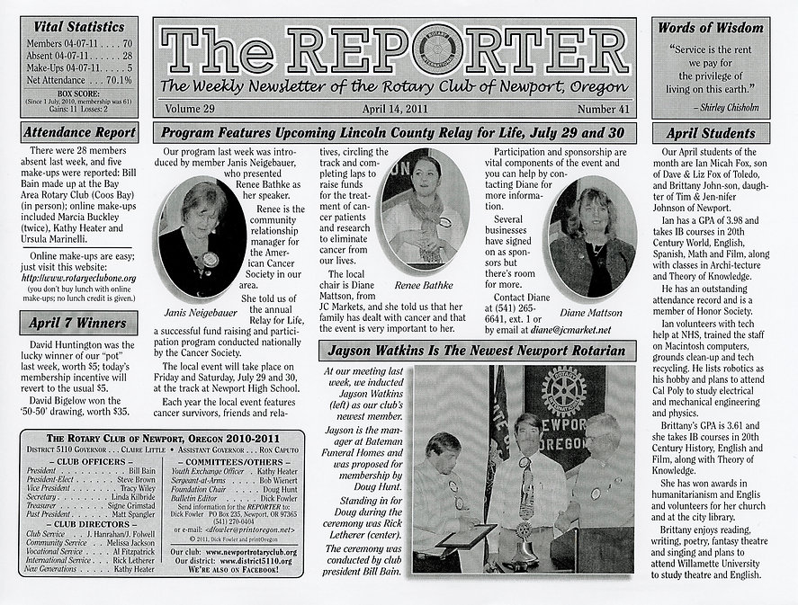 Rotary of Newport, Oregon Newsletter- April 14, 2011