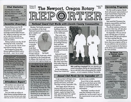 Rotary of Newport, Oregon August 27, 2009 newsletter