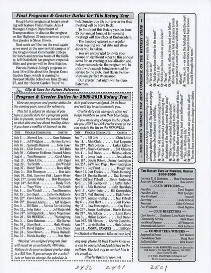 Rotary of Newport, Oregon June 4, 2009 newsletter