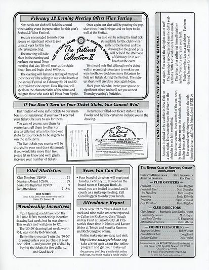 Rotary of Newport, Oregon 2.5.09 newsletter