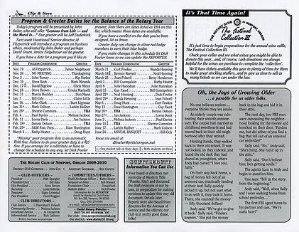 Rotary of Newport, Oregon November 12, 2009 newsletter