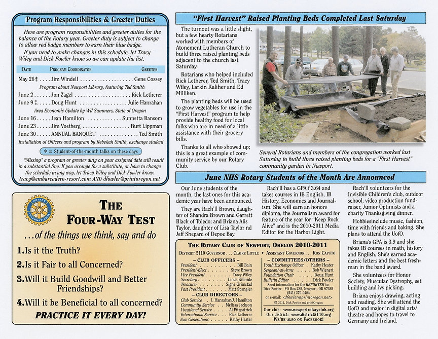 Rotary of Newport, Oregon May 26, 2011 newsletter