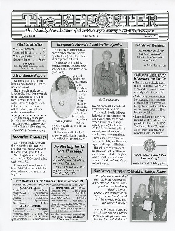 June 27, 2013 Rotary of Newport Newsletter