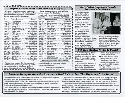 Rotary of Newport, Oregon July 9, 2009 newsletter