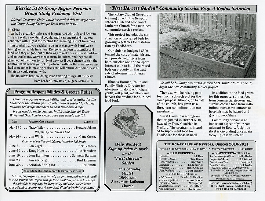 Rotary of Newport, Oregon May 19, 2011 newsletter