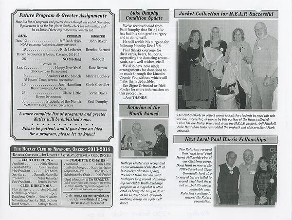 December 12, 2013 Rotary of Newport, Oregon Newsletter