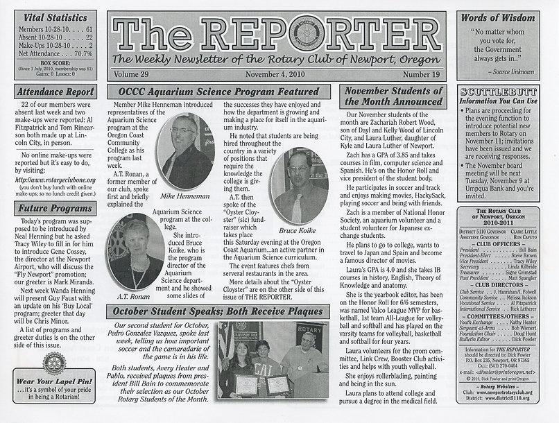 Rotary Club of Newport, Oregon November 4, 2010 newsletter.
