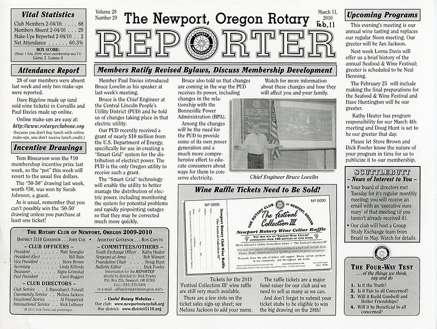 Rotary of Newport, Oregon February 11, 2010 newsletter.