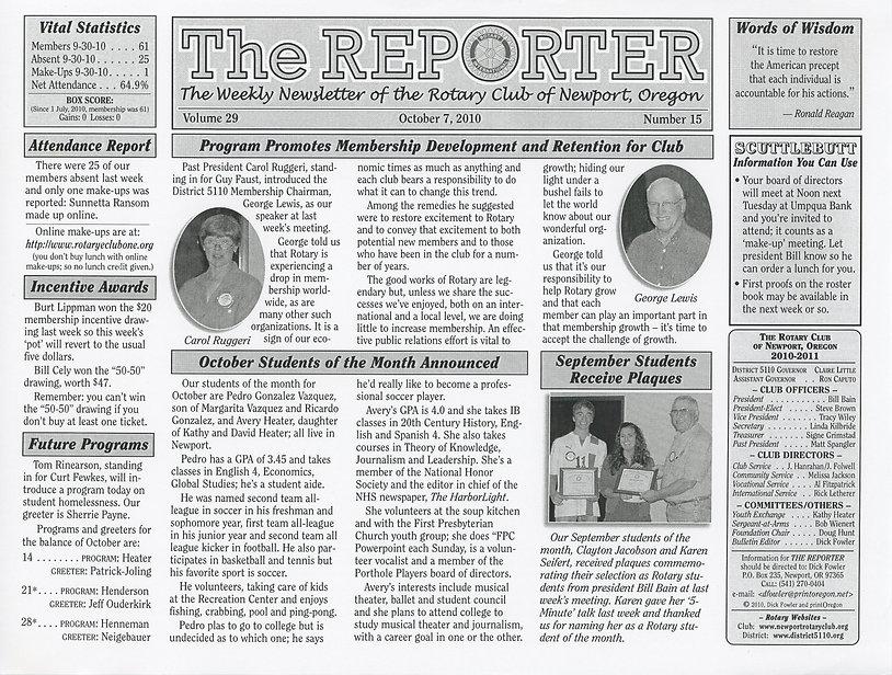 Rotary Club of Newport, Oregon October 7, 2010 newsletter.