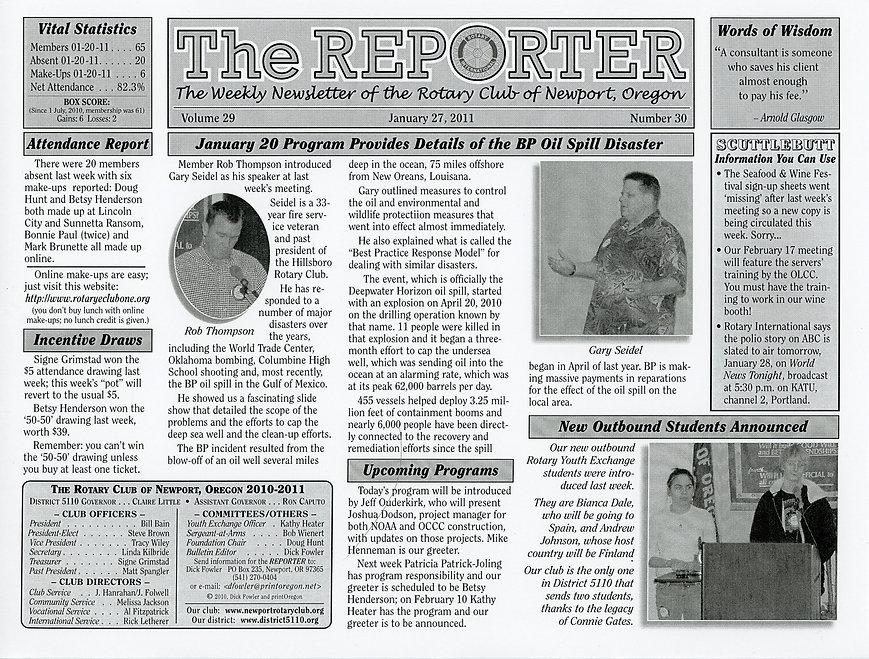 Rotary of Newport, Oregon Newsletter- January 27, 2011
