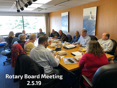 Rotary Club of Newport Board of Directors meet at Columbia Bank.