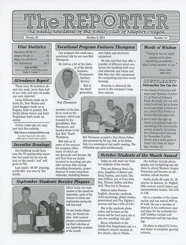 Rotary of Newport, Oregon October 6, 2011 newsletter