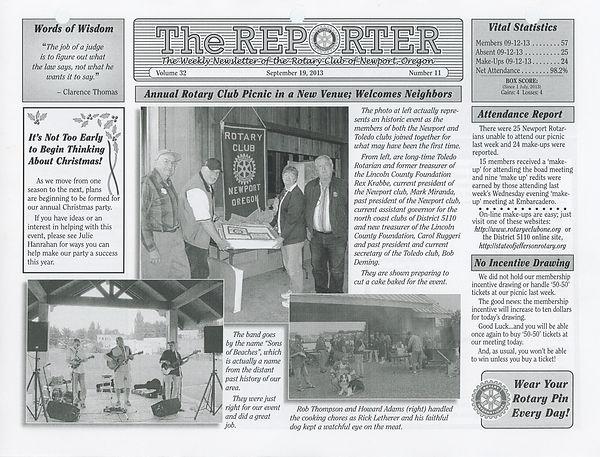September 19, 2013 Rotary of Newport, Oregon Newsletter