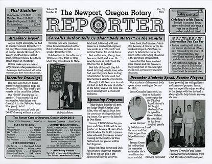 Rotary of Newport, Oregon December 31, 2009 newsletter