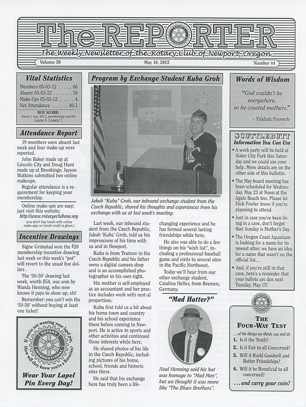 May 10, 2012 Rotary of Newport, Oregon Newsletter