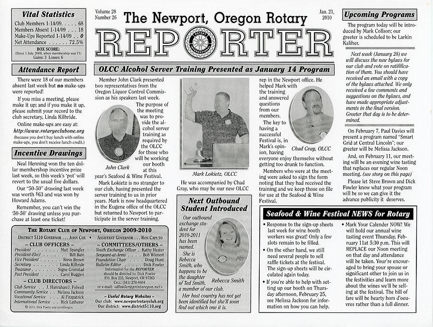 Rotary of Newport, Oregon January 21, 2010 newsletter.