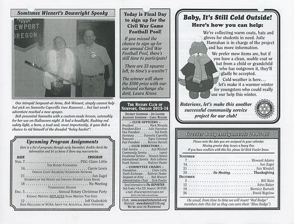 November 7, 2013 Rotary of Newport, Oregon Newsletter
