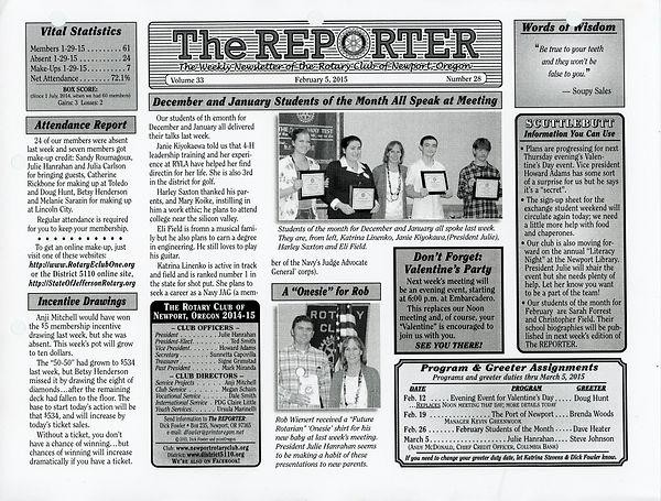 February 5, 2015 Rotary of Newport Newsletter