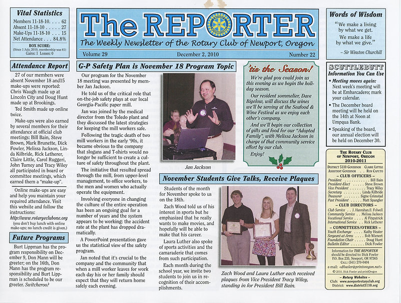 Rotary of Newport, Oregon December 2, 2010 newsletter