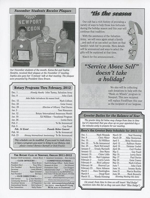 Rotary of Newport, Oregon December 1, 2011 newsletter