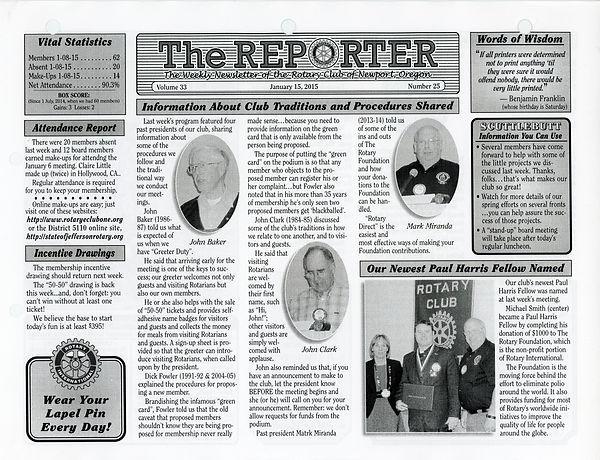 January 15, 2015 Rotary of Newport Newsletter