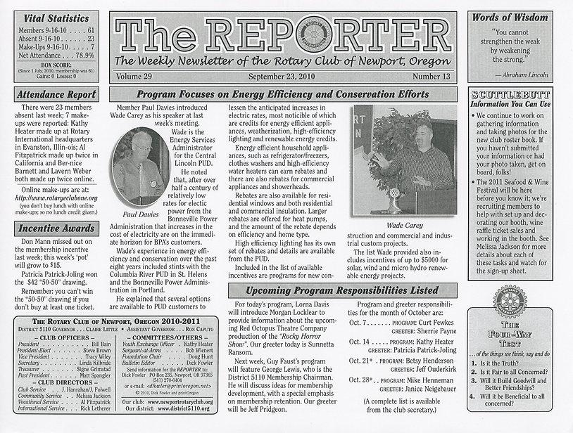Rotary Club of Newport, Oregon September 23, 2010 newsletter.