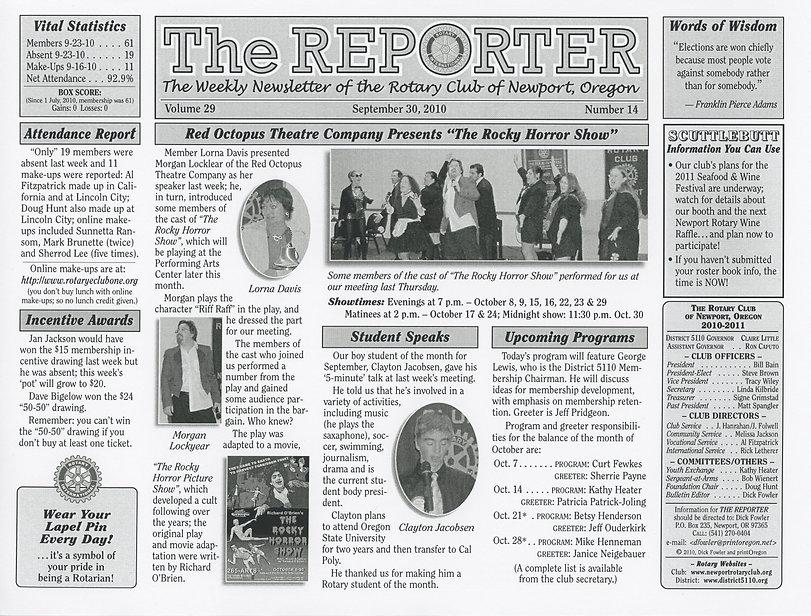 Rotary Club of Newport, Oregon September 30, 2010 newsletter.