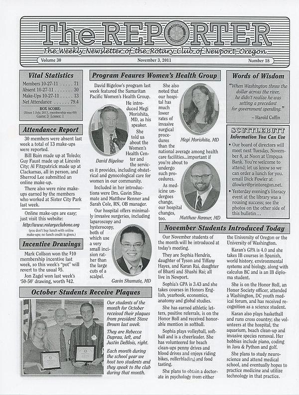 Rotary of Newport, Oregon November 3, 2011 newsletter