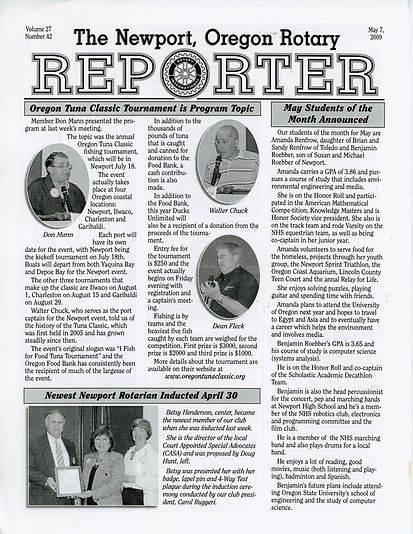Rotary of Newport, Oregon May 7, 2009 newsletter