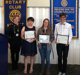 President Hanrahan recognizes the October Students of the Month Claire Mattson & Tristan Scarborough and Student of the Quarter Tanya Avila