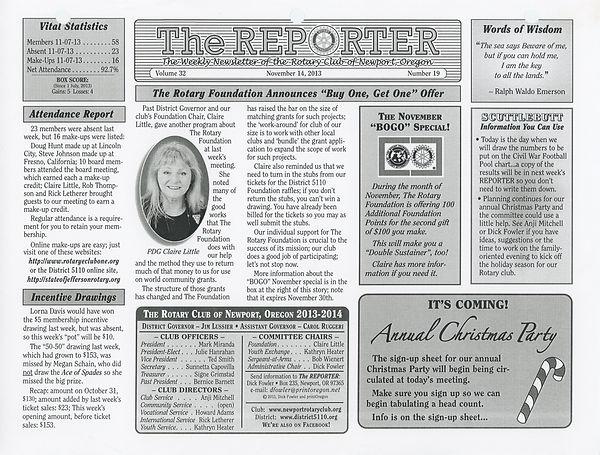 November 14, 2013 Rotary of Newport, Oregon Newsletter