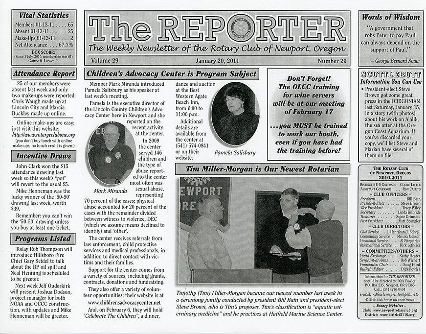Rotary of Newport, Oregon Newsletter- January 20, 2011