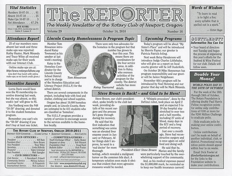 Rotary Club of Newport, Oregon October 14, 2010 newsletter.
