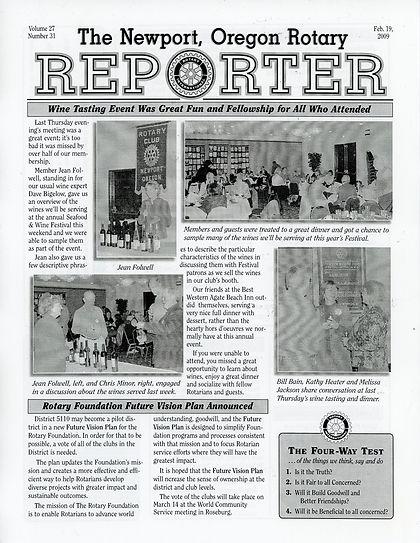 Rotary of Newport, Oregon 2.19.09 newsletter