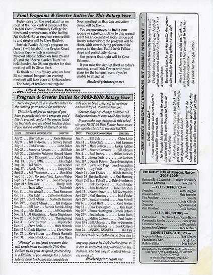 Rotary of Newport, Oregon June 11, 2009 newsletter