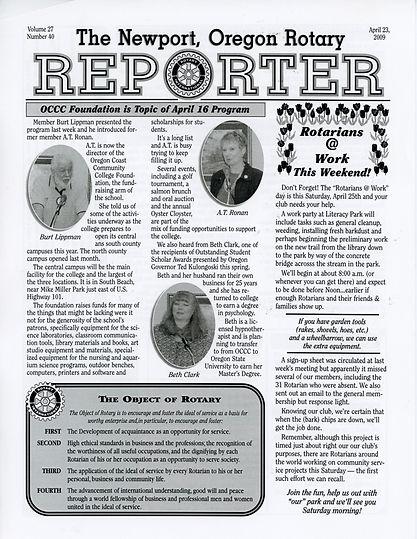 Rotary of Newport, Oregon April 23, 2009 newsletter