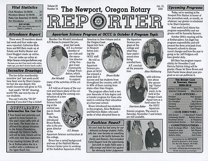Rotary of Newport, Oregon October 15, 2009 newsletter