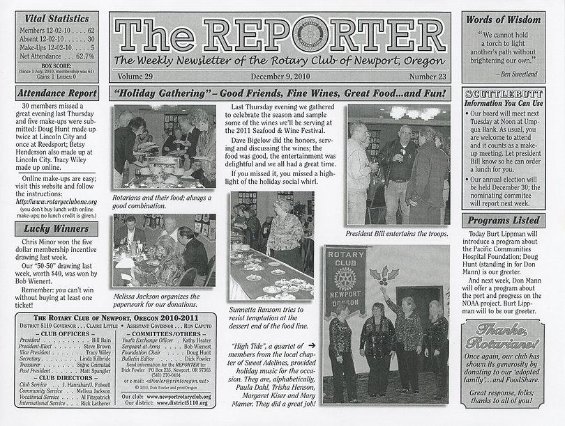 Rotary of Newport, Oregon December 9, 2010 newsletter