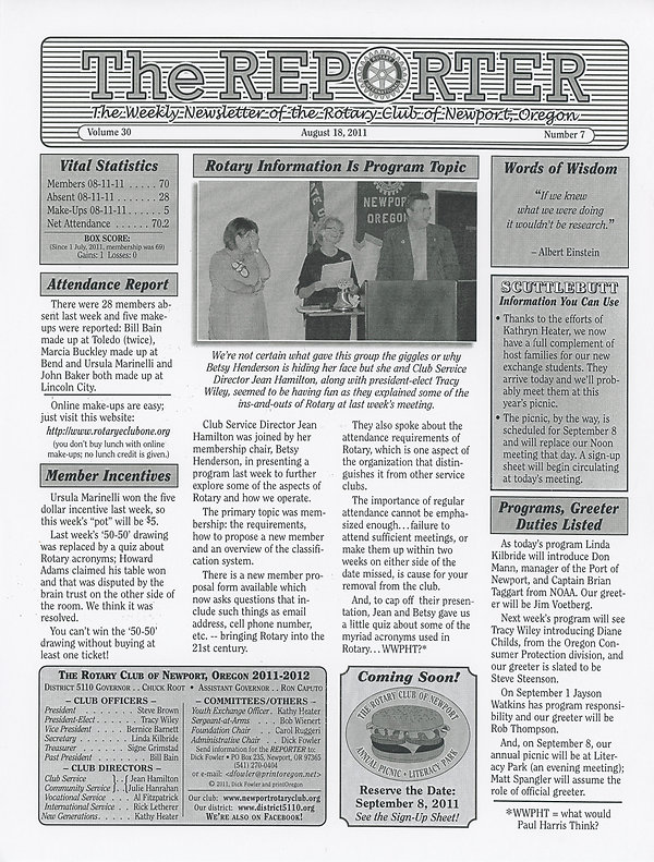 Rotary of Newport, Oregon August 18, 2011 newsletter