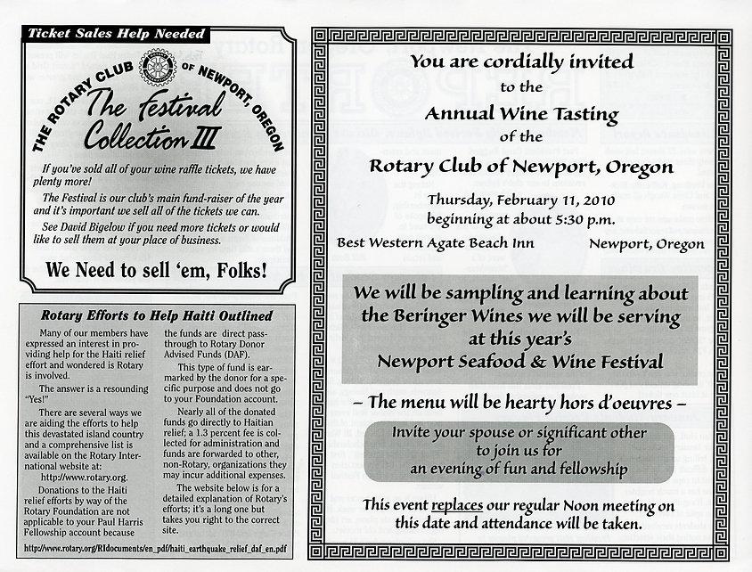 Rotary of Newport, Oregon February 4, 2010 newsletter.